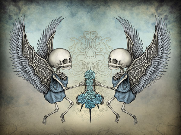 Forgotten Innocence, Skeleton Cherub Angels by Sherrie Thai of ShaireProductions.com
