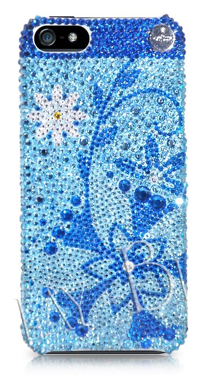 Swarvoski Crystal Blue Floral Phone Case