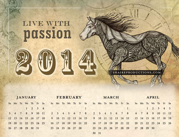 free 2014 horse calender download