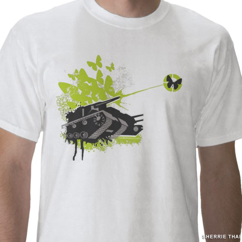 Tank & Butterflies T-Shirt by sherrie thai of shaireproductions
