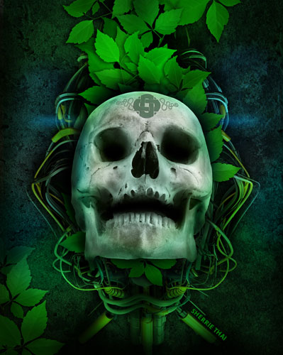 Electro Skull and Leaves
