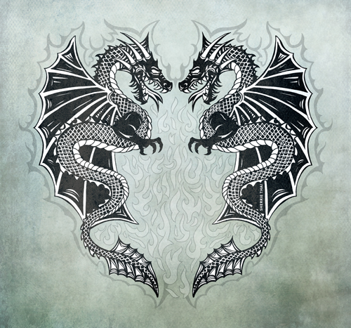 Twin Dragons, Art by Sherrie Thai of Shaireproductions