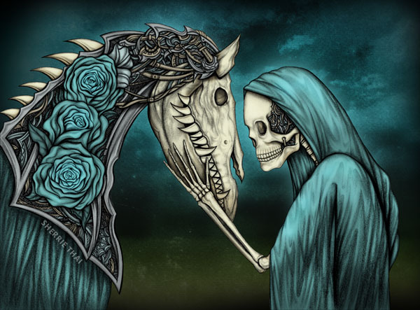 Momento Mori, Gothic Skeleton & Horse Art, by Sherrie Thai of Shaireproductions.com