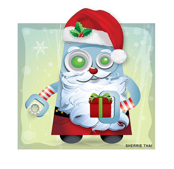 Cartoon Robot Santa Art