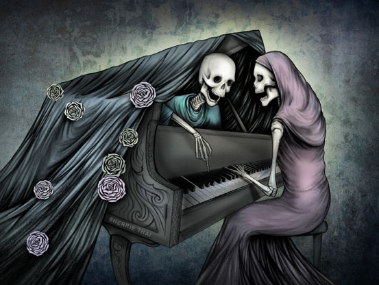 Skeletons Playing Piano Duet, Art by Sherrie Thai of Shaireproductions.com