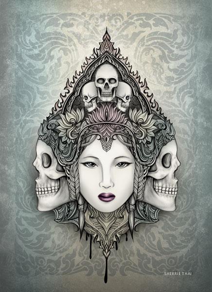 Skull Goddess, Art by Sherrie Thai of Shaireproductions, Art by Sherrie Thai of Shaireproductions