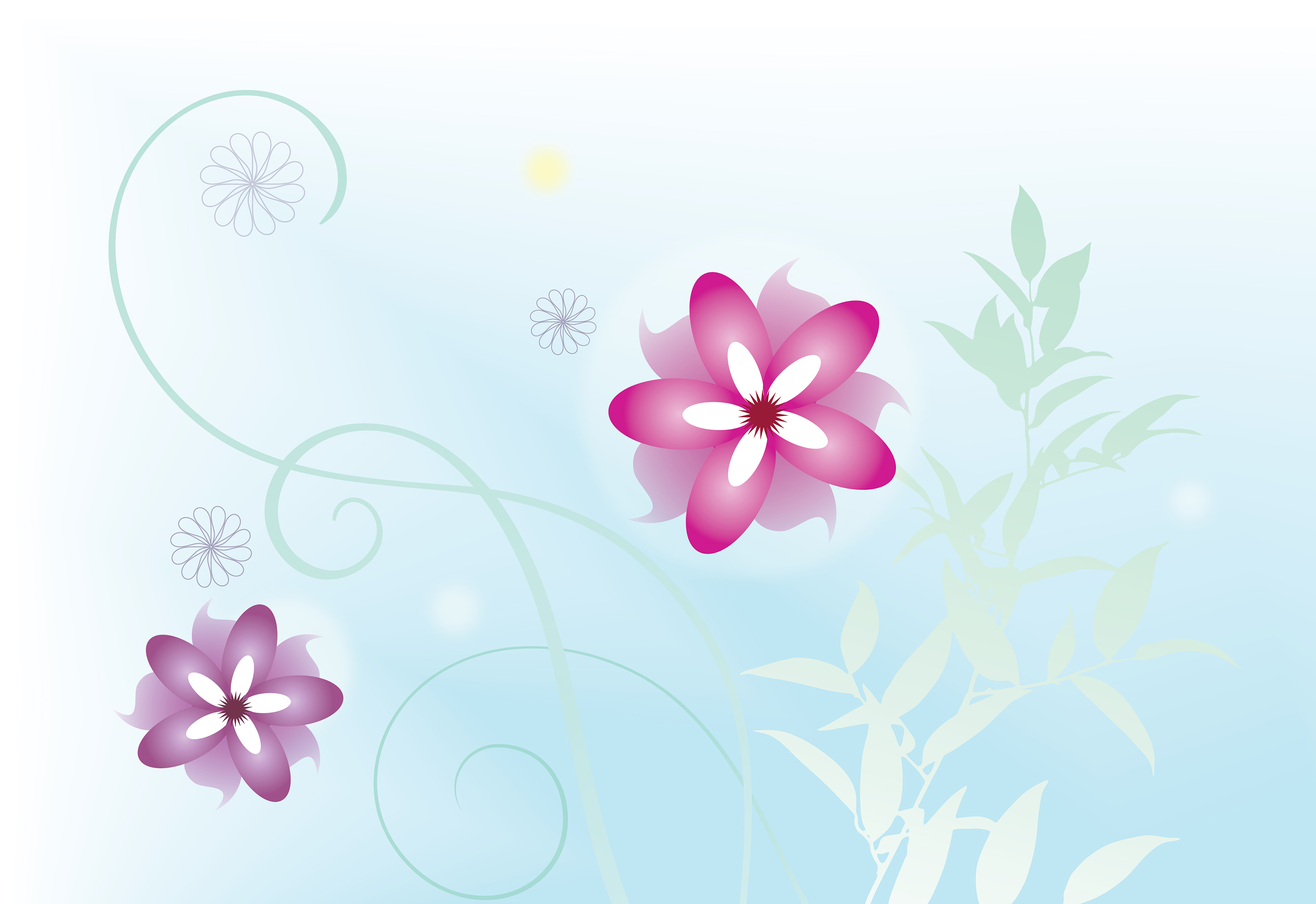 free blue and pink floral art