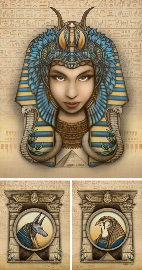 Artwork: Egyptian Series- Pharaoh Queen Hatshepsut, Gods ...