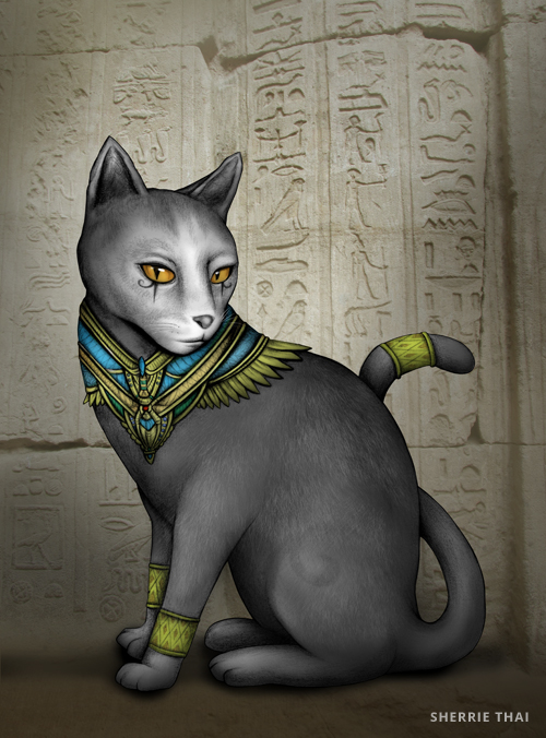 Egyptian Cat Bastet, Art by Sherrie Thai of Shaireproductions