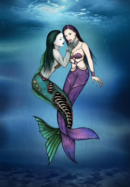 evil & good mermaids art by Sherrie Thai of shaireproductions.com