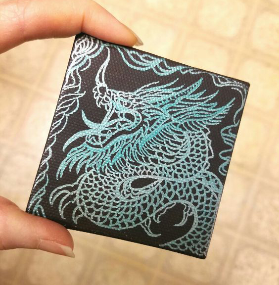 Miniature Dragon Drawing Art by Sherrie Thai of Shaireproductions