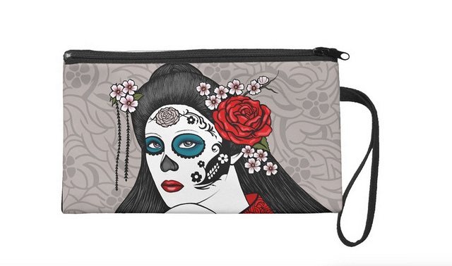 Day of the Dead Geisha Girl Wristlet by Sherrie Thai of Shaireproductions
