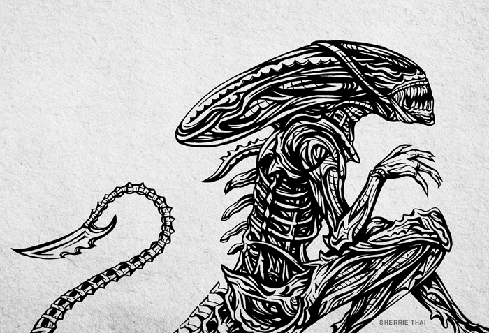 Tribal Alien Pen Drawing Sherrie Thai of Shaireproductions.com