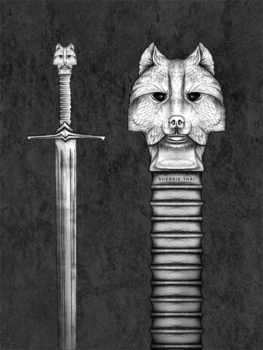 GOT Longclaw Sword Sketch, art by Sherrie Thai of Shaireproductions.com