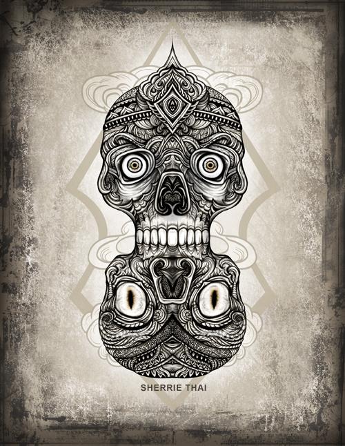Dual Tibetan Skulls, art by Sherrie Thai of Shaireproductions.com