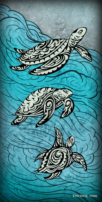 Swimming Tribal Turtles, art by Sherrie Thai of Shaireproductions.com