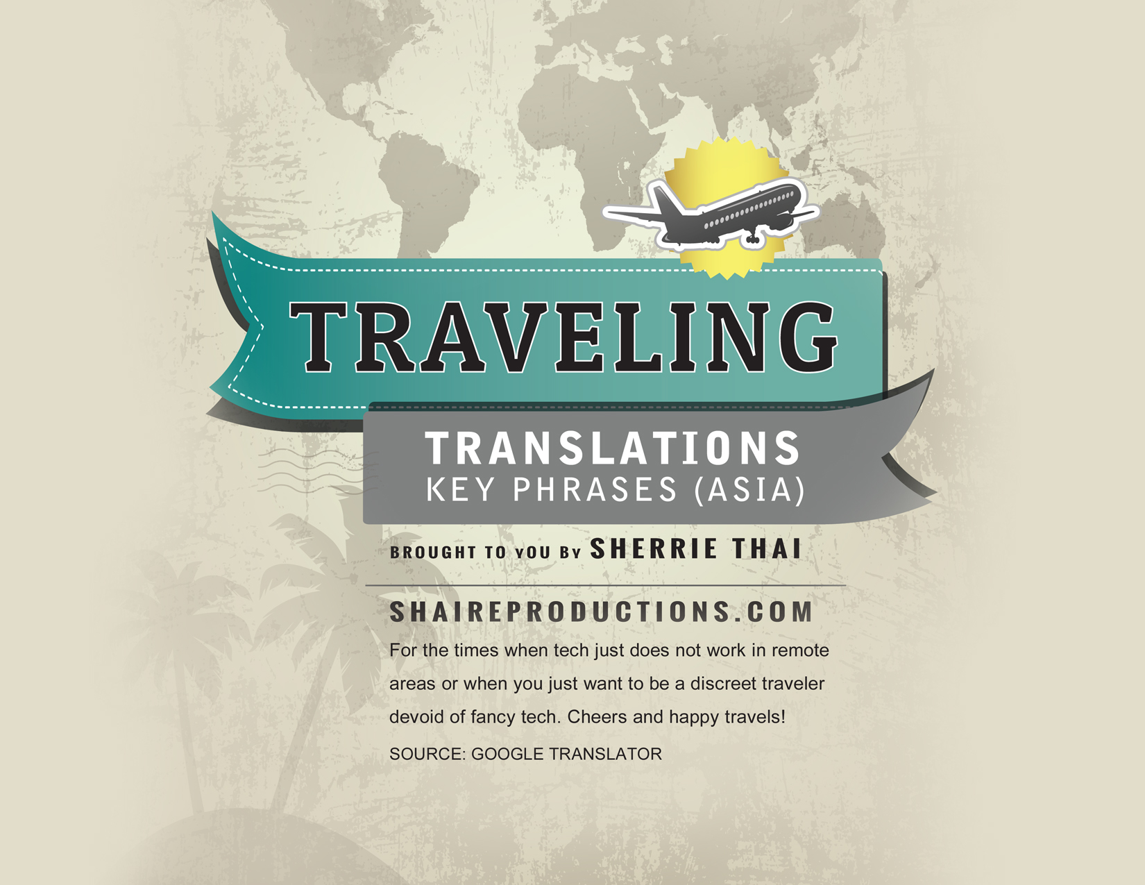 Travel translations, key phrases for Asia, art by Sherrie Thai of Shaireproductions.com