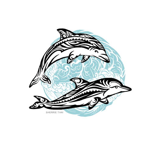Tribal dolphins tattoo design, art by Sherrie Thai of Shaireproductions.com