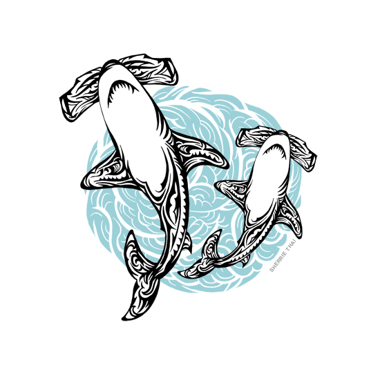 Tribal hammerhead sharks tattoo design, art by Sherrie Thai of Shaireproductions.com