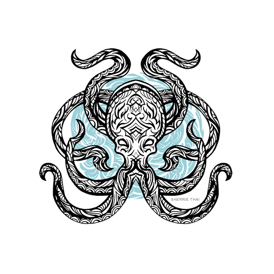 Tribal octopus tattoo design, art by Sherrie Thai of Shaireproductions.com