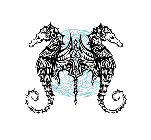 Tribal seahorses tattoo design, art by Sherrie Thai of Shaireproductions.com