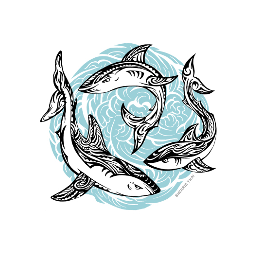 Tribal sharks tattoo design, art by Sherrie Thai of Shaireproductions.com