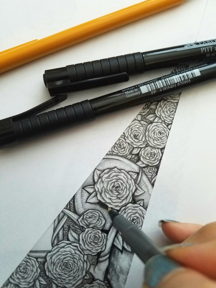 macabre roses black and white drawing sketch, art by Sherrie Thai of Shaireproductions.com