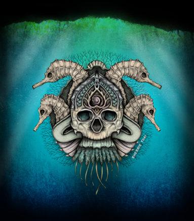 underwater sea skull art by sherrie thai
