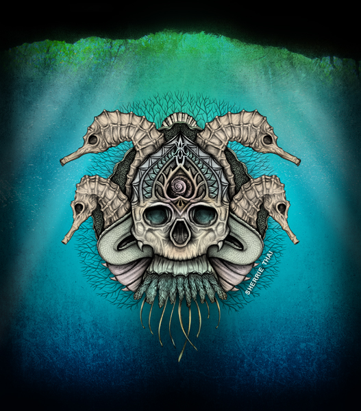 underwater sea skull, art by Sherrie Thai of Shaireproductions.com
