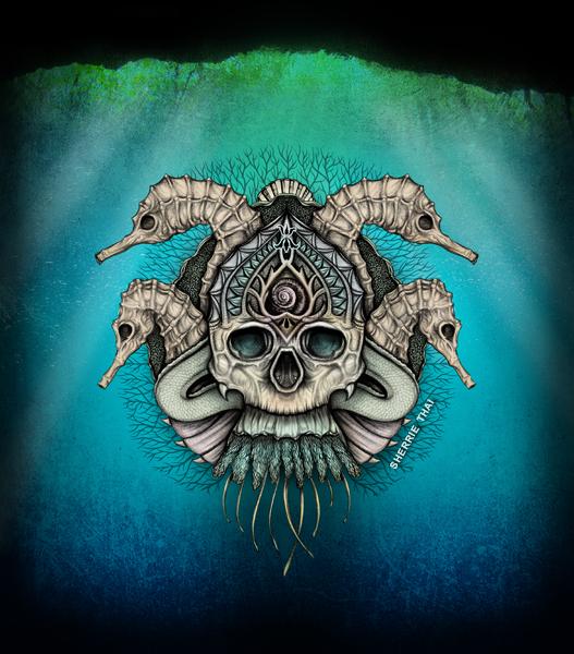 underwater sea skull, art by Sherrie Thai of Shaireproductions.com