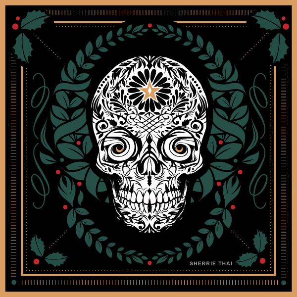 Christmas Day of the Dead Skull Wreath, Digital Art by Sherrie Thai Shaireproductions.com