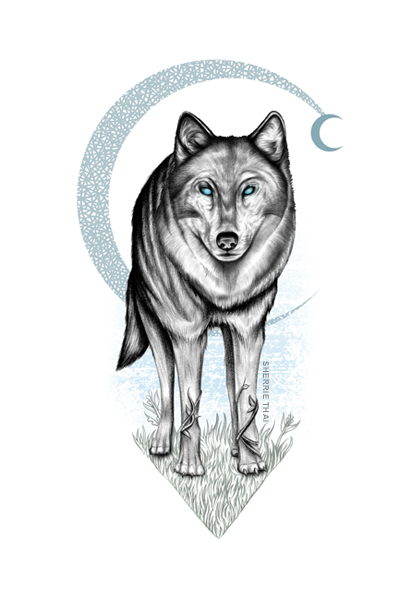 Wolf & Crescent Moon, Art by Sherrie Thai Shaireproductions.com