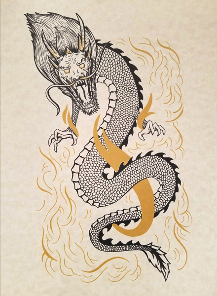 asian japanese chinese dragon tattoo style design, art by Sherrie Thai of Shaireproductions.com
