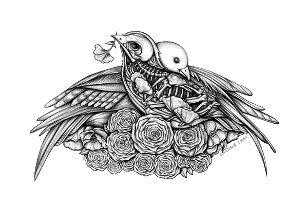 Skeleton Bird Lovers Drawing, art by Sherrie Thai of Shaireproductions.com