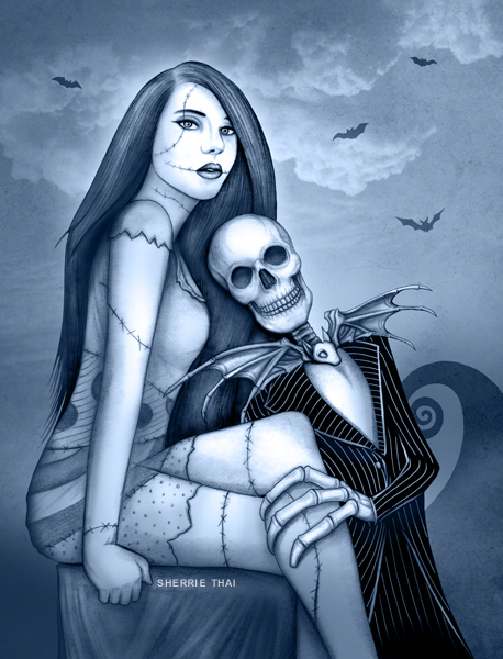 Jack and Sally, nightmare before christmas, art by Sherrie Thai of Shaireproductions.com